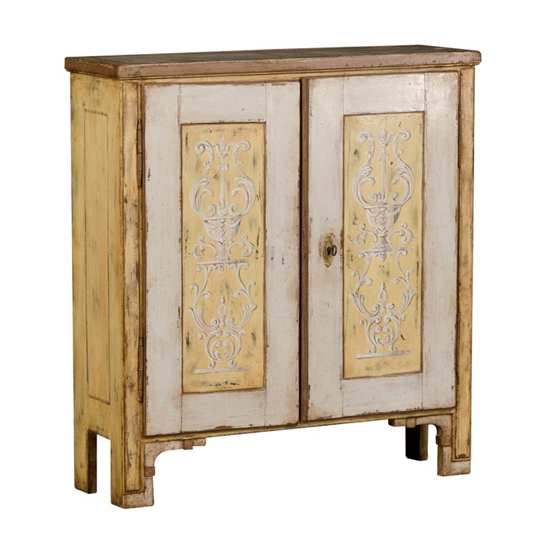 shallow storage cabinet a shallow two door low painted cabinet from germany c 1825 26020