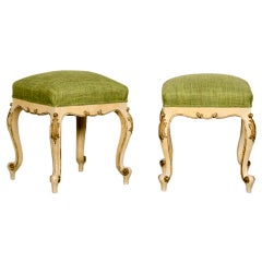 Antique French Louis XV Style Painted and Gilded Carved Stools, circa 1895