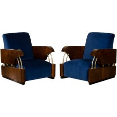 "Pair Art Deco Period ""Normandie"" Armchairs France circa 1930"