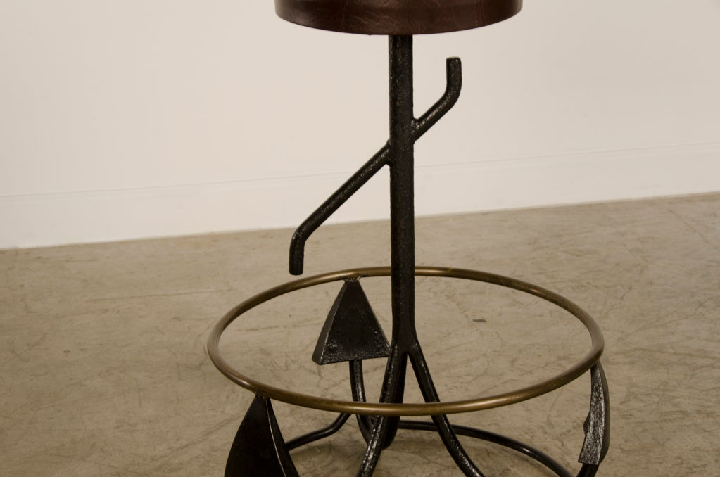 A Set Vintage Iron And Brass Stools From Holland C 1940 At
