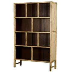 Painted Vintage Chinese Open Display Cabinet Bookcase/Display Cabinet
