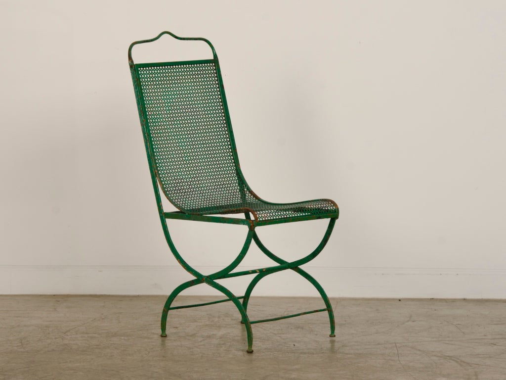 vibrant green iron garden chair from france c 1890 at 1stdibs