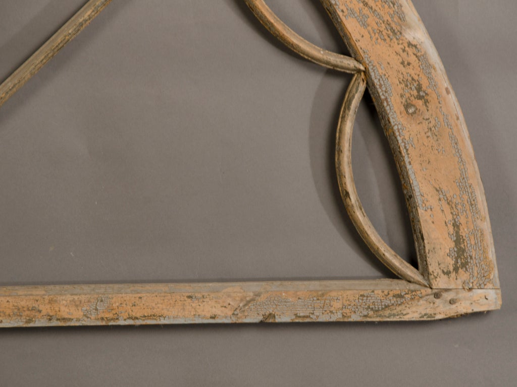 Wood Antique English George III Style Overdoor Painted Timber Window Frame circa 1850 For Sale