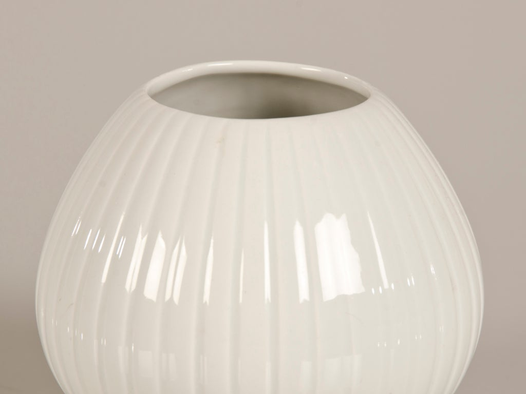 Porcelain Ribbed Melon Vase With Maker S Mark Mid Century