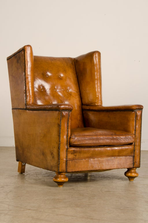 An Art Deco period leather armchair from France c. 1930 image 2