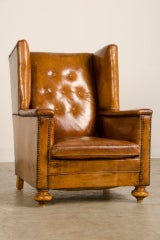 An Art Deco period leather armchair from France c. 1930 thumbnail 3