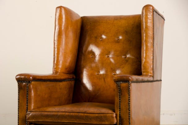 An Art Deco period leather armchair from France c. 1930 image 5