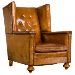 An Art Deco period leather armchair from France c. 1930 thumbnail 1