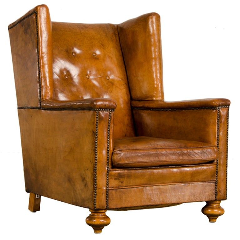 An Art Deco period leather armchair from France c. 1930