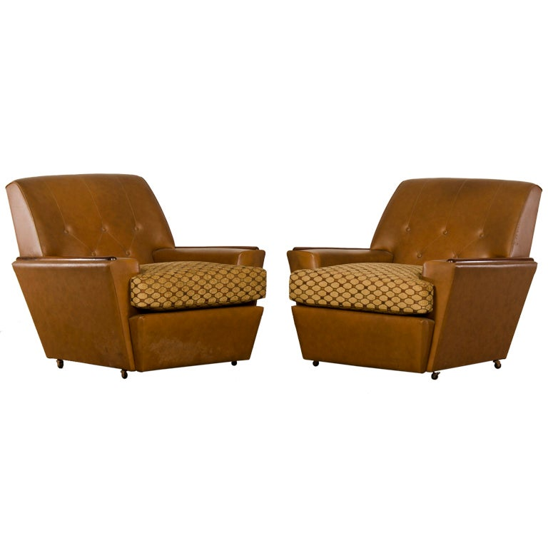 Pair of Vintage Mid-Century Modern Cushioned French Armchairs, circa 1965