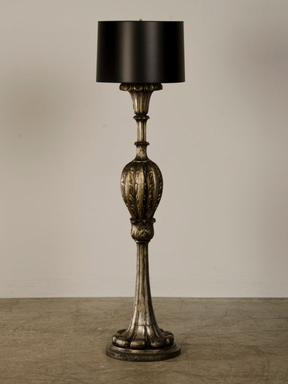 Antique Italian Silver Leaf Carved Wood Candle Stand Floor Lamp ...
