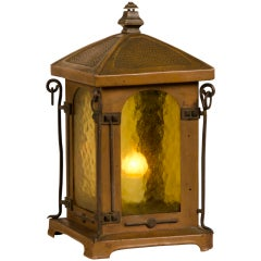 Antique French Art Nouveau Period Copper Table Top Lantern circa 1900