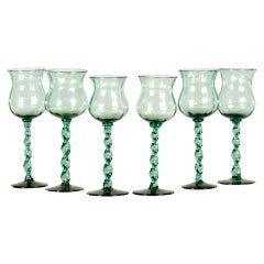 Antique French Set of Six Hand Blown Wine Glasses circa 1875
