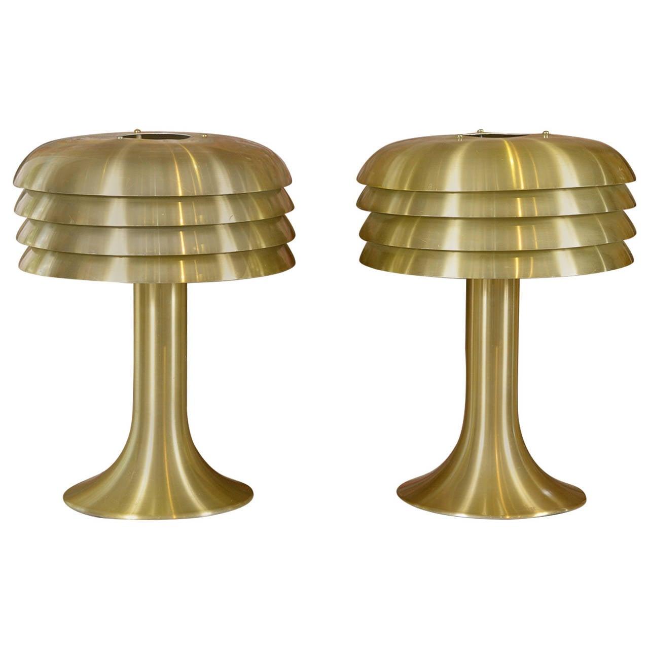Hans Agne Jacobson Brass Lamps For Sale