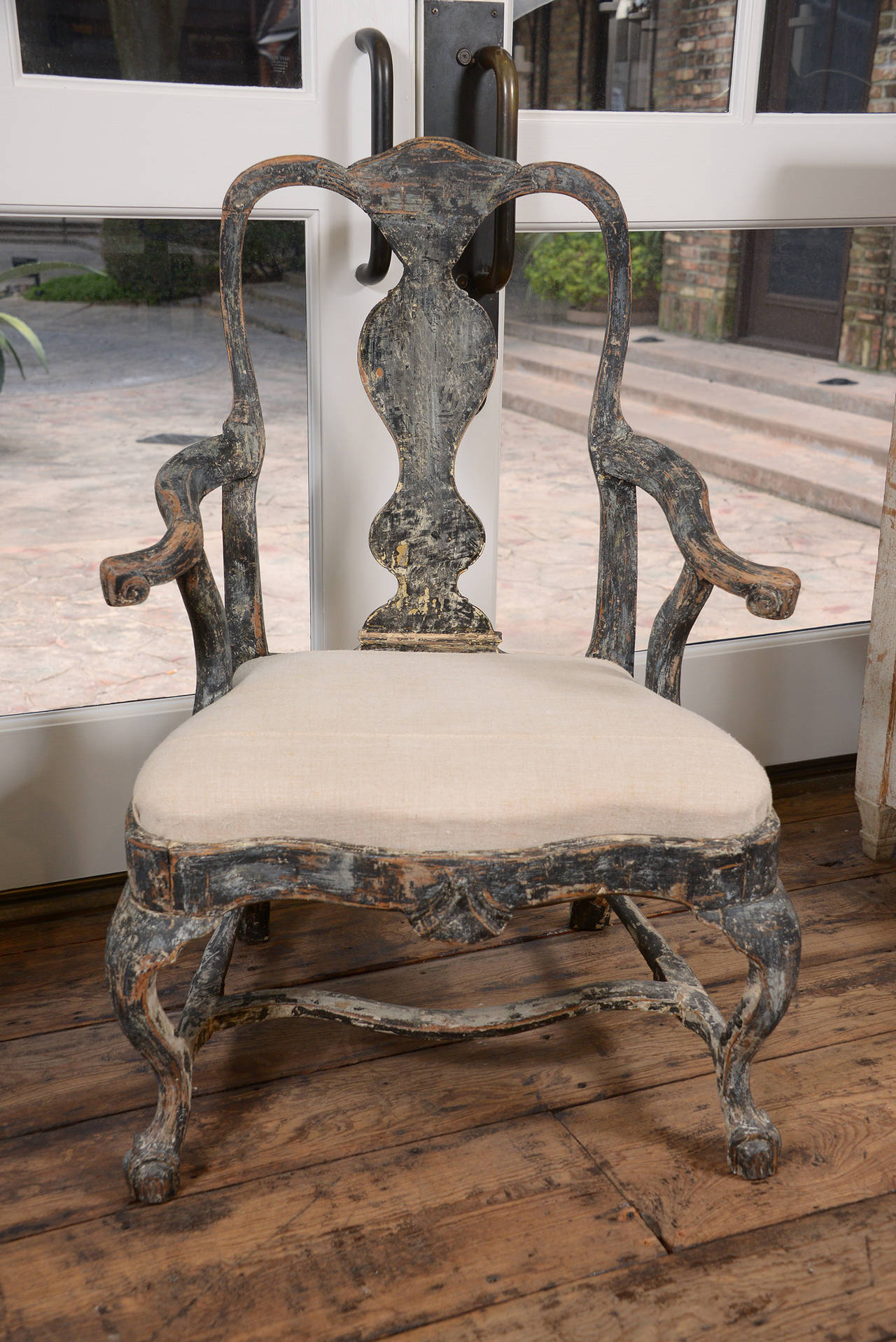 Handsome Swedish painted chair in the Rococo period, circa 1760. Wonderful hand scraped paint finish back to original traces of paint. A great chair.