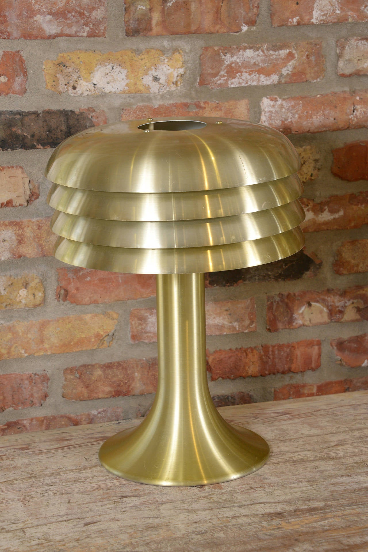 Pair of Hans Agne Jacobson brass lamps wired for the USA by Hans Agne Jacobson, Markayrd Sweden, 1950s.