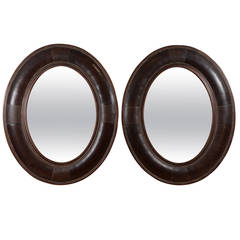 Pair of French Leather Mirrors