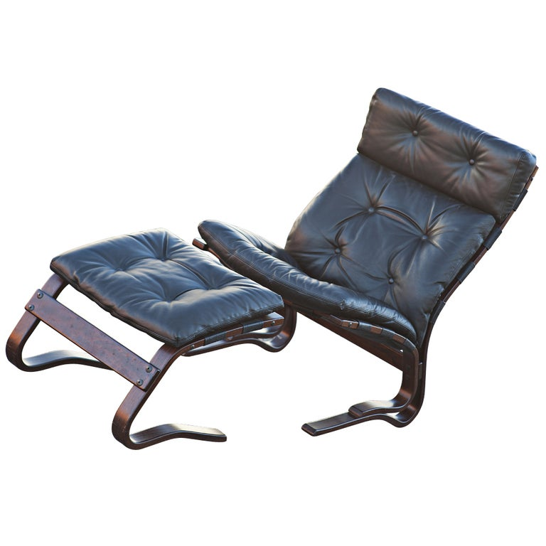 Westnofa Scandinavian Rosewood Lounge Chair And Ottoman At