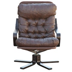 Westnofa Scandinavian Rosewood & Leather Lounge Chair