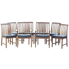 Eight Teak Dux Scandinavian Dining Chairs