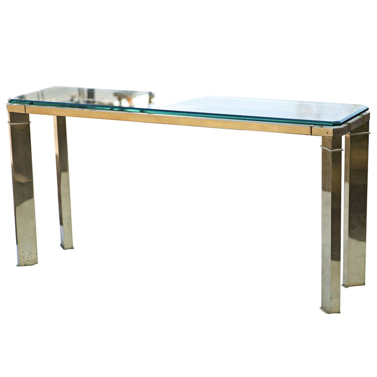 Mastercraft Brass And Glass Console Sofa Table For Sale