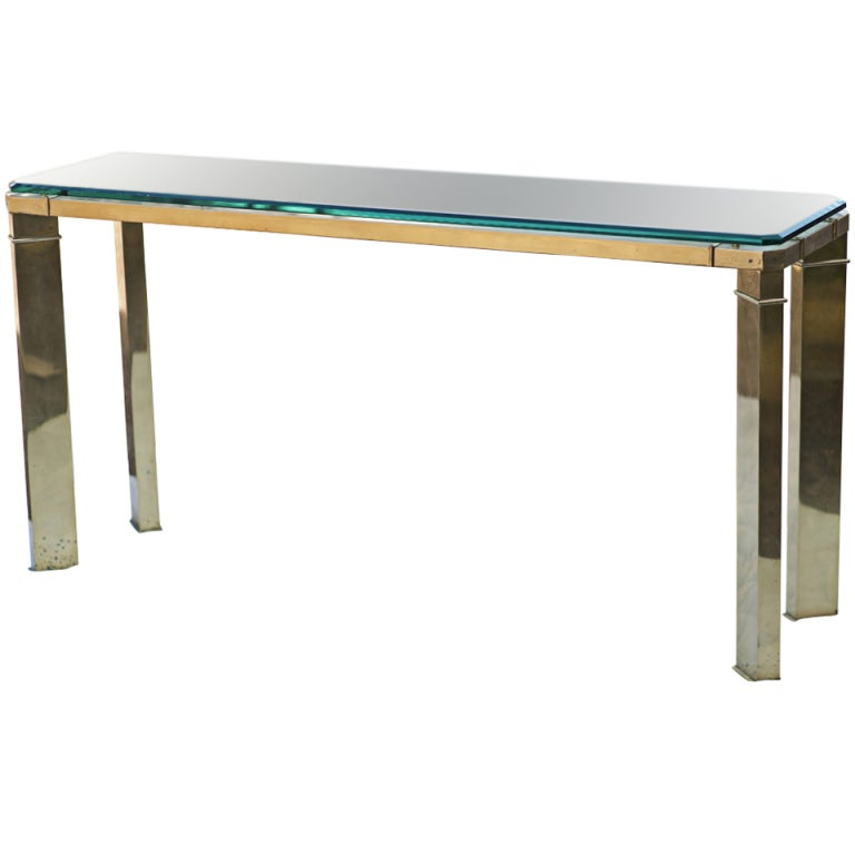 Mastercraft Brass And Glass Console Sofa Table For Sale At