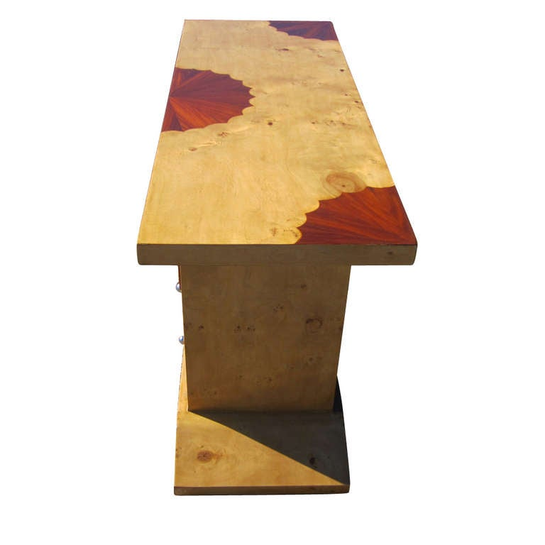 Unknown Art Deco Style Three Drawer Maple Burl Console Table For Sale