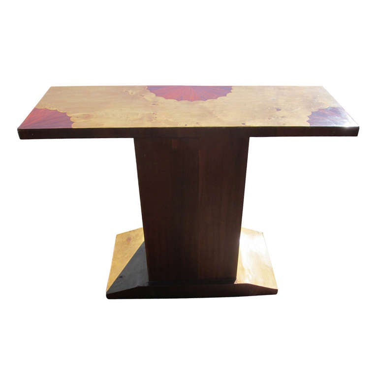 Art Deco Style Three Drawer Maple Burl Console Table In Good Condition For Sale In Pasadena, TX