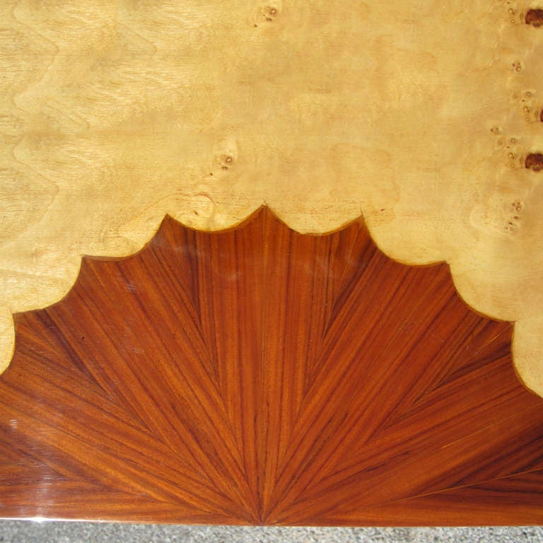 Wood Art Deco Style Three Drawer Maple Burl Console Table For Sale