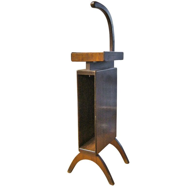 Mid Century Scandinavian Style Walnut Telephone Stand At