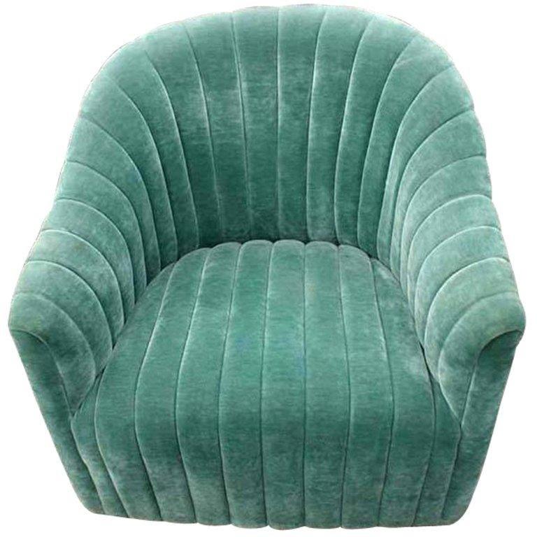 Mid-Century Modern 1 Ward Bennett For Brickell Green Mohair Lounge Chair  For Sale