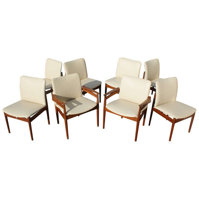 set of eight danish teak leather dining chairs finn juhl side and armchairs 1