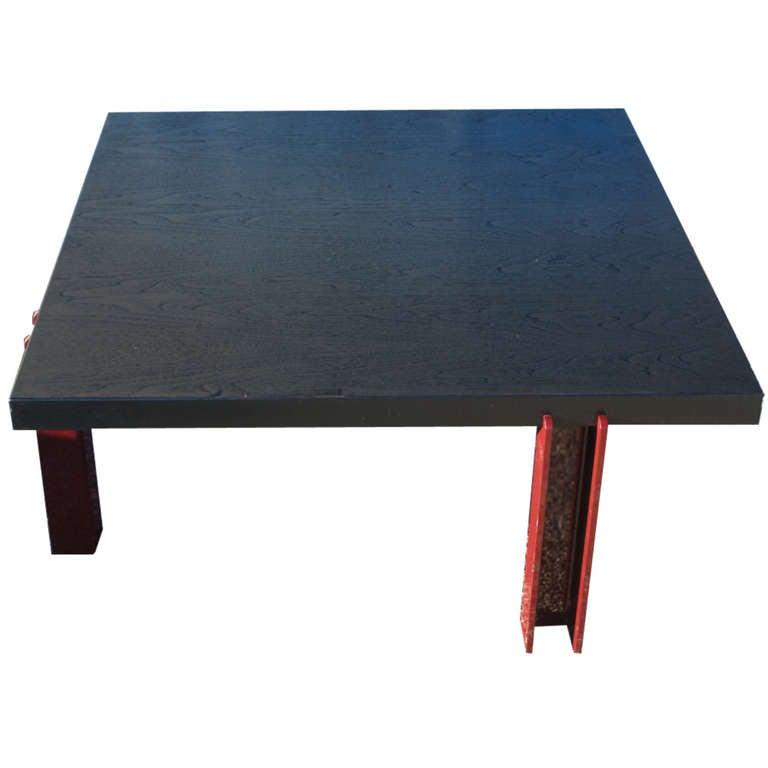 Modern Memphis Style Ebonized Coffee Table For Sale