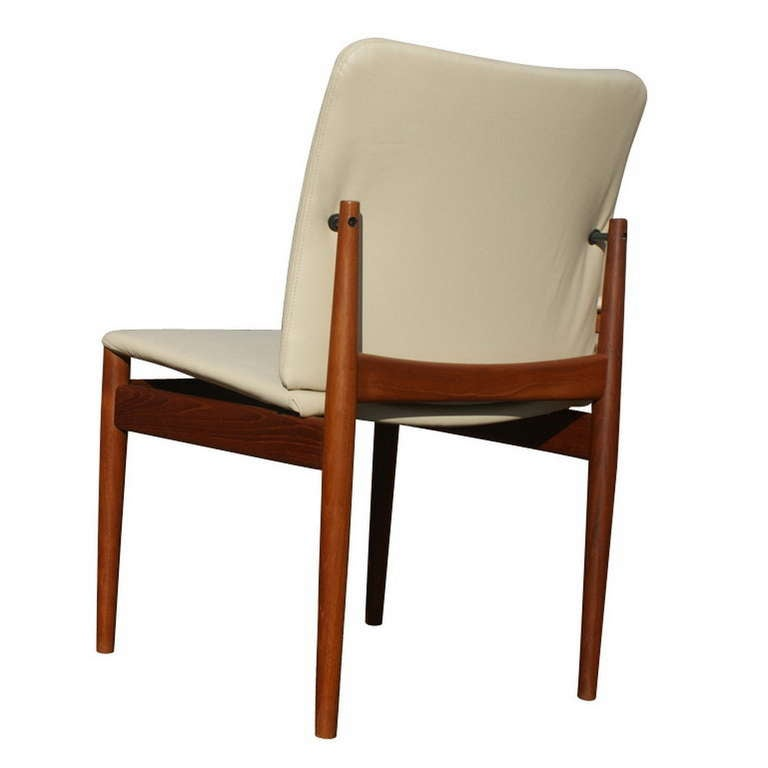 set of eight danish teak leather dining chairs finn juhl side and