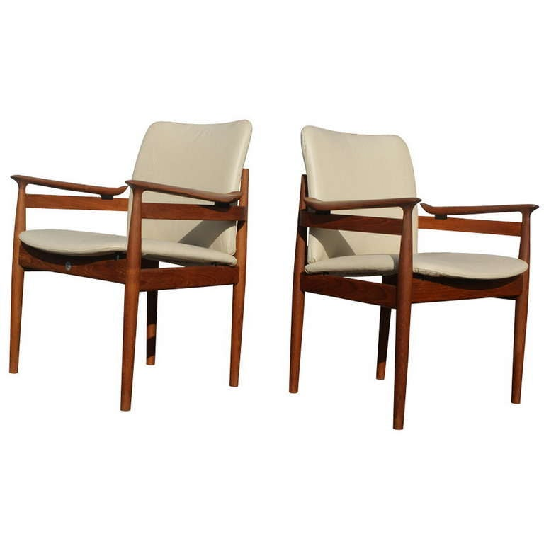set 8 danish teak leather dining chairs finn juhl side and armchairs