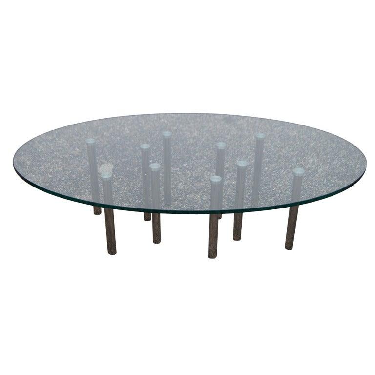 Smoke Grey Glass Coffee Table At 1stdibs