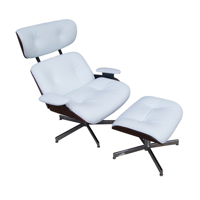 Plycraft Eames Style Walnut And White Leather Lounge And