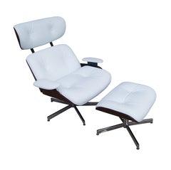 Plycraft Eames Style Walnut & White Leather Lounge & Ottoman