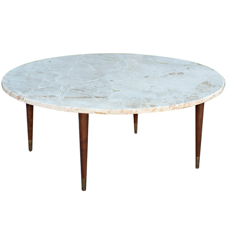 Mid century round marble coffee table at 1stdibs Coffee tables with marble tops
