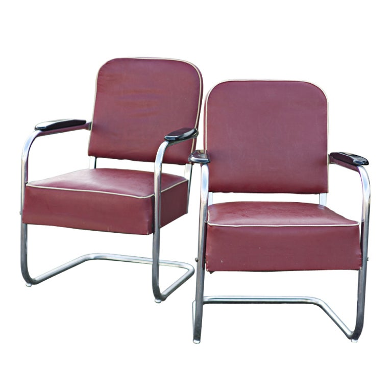 Pair Of Art Deco Royal Chrome By Lloyd Lounge Chairs