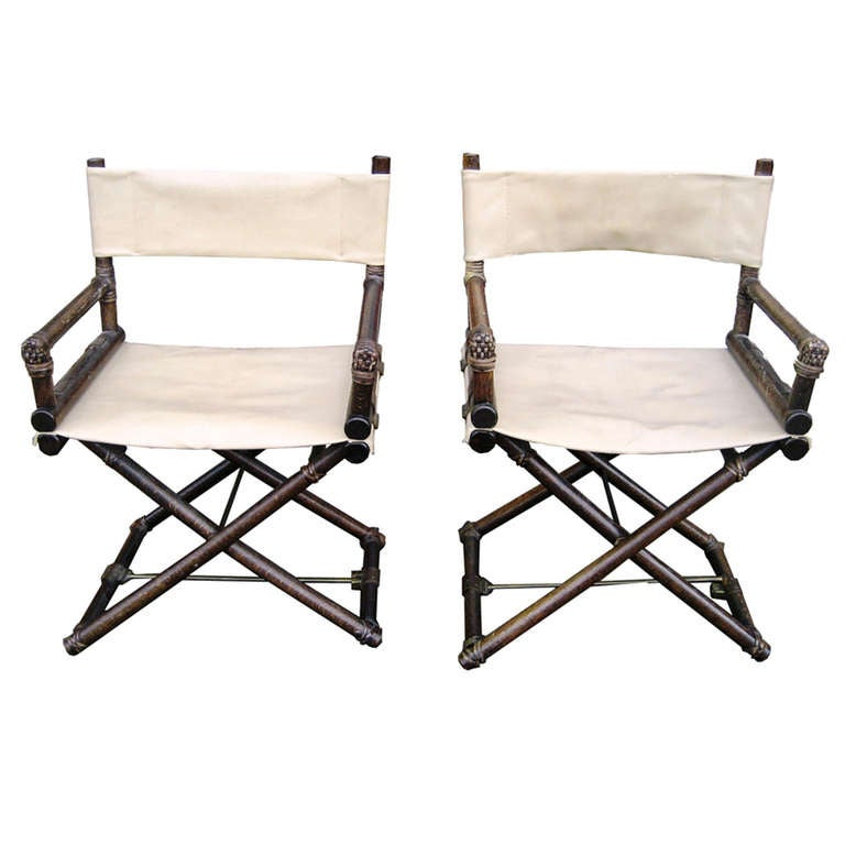 Pair Of Mcguire Oak And Leather X Chair Folding Director