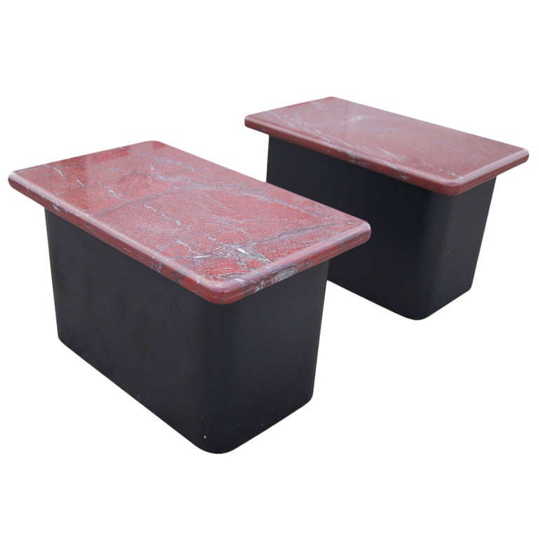 Pair of Red Marble and Wood Side End Tables