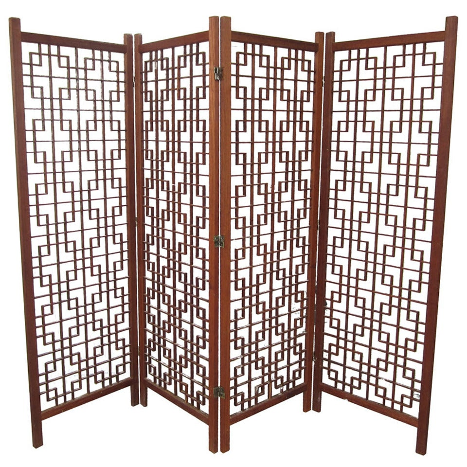 Vintage Danish Teak Room Divider Screen at 1stdibs