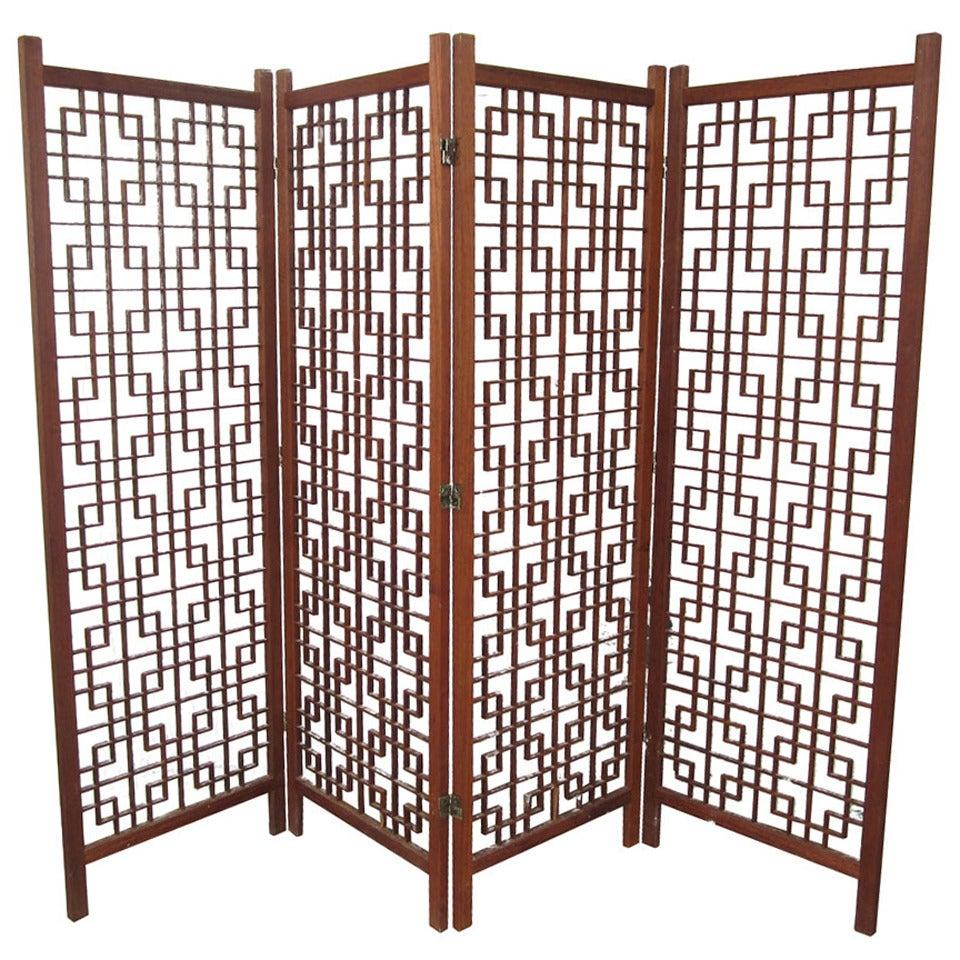 vintage danish teak room divider screen at 1stdibs. Black Bedroom Furniture Sets. Home Design Ideas