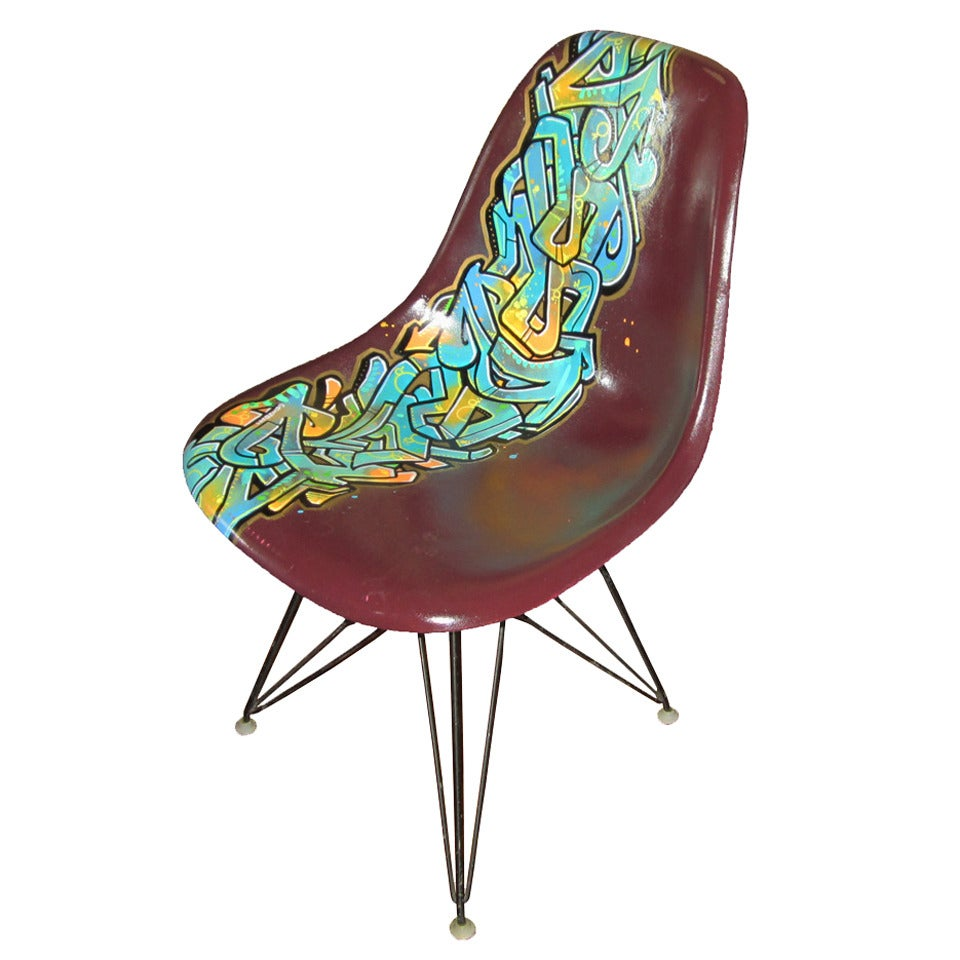 Vintage eames chair - Vintage Eames Chair For Herman Miller Reimagined By Graffiti Artist Gonzo247 1