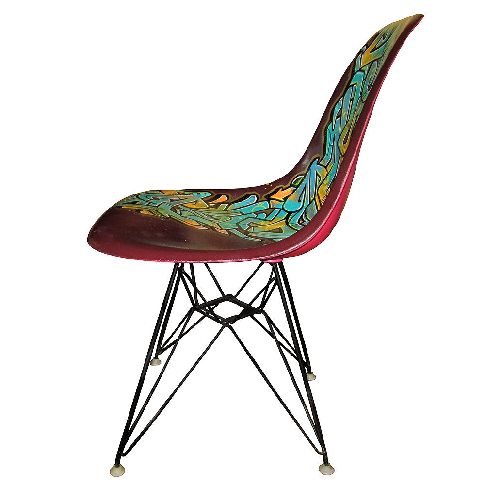 Mid Century Modern Vintage Eames Chair For Herman Miller Reimagined By  Graffiti Artist Gonzo247 For