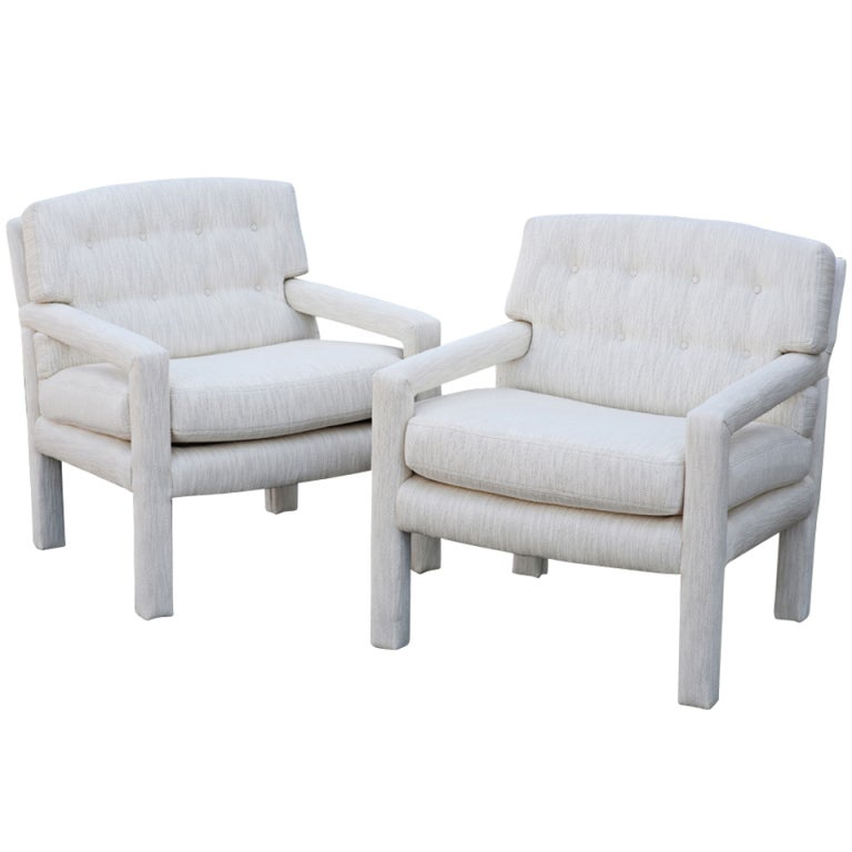 Pair of milo baughman parson style lounge chairs at 1stdibs for What is a parsons chair style