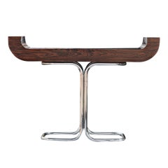 Mid Century Rosewood Chrome Console Table