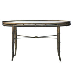 Mastercraft Brass Bamboo Oval Cocktail Table