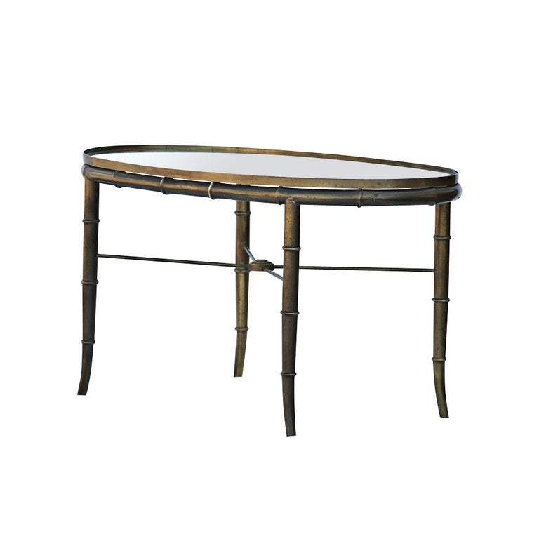 Mastercraft Brass Bamboo Oval Cocktail Table For Sale At